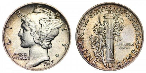 1916 Silver Mercury Dime