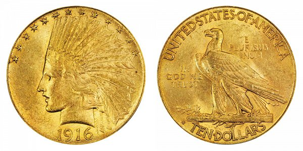 1916 S Indian Head $10 Gold Eagle - Ten Dollars