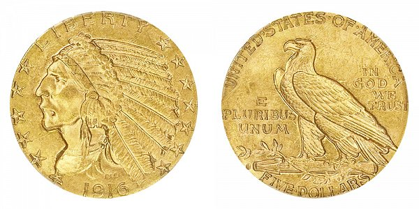 1916 S Indian Head $5 Gold Half Eagle - Five Dollars
