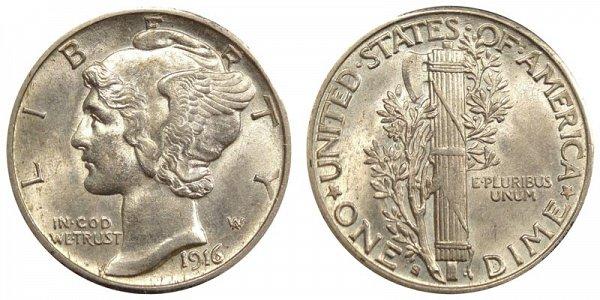 1916 S Silver Mercury Dime