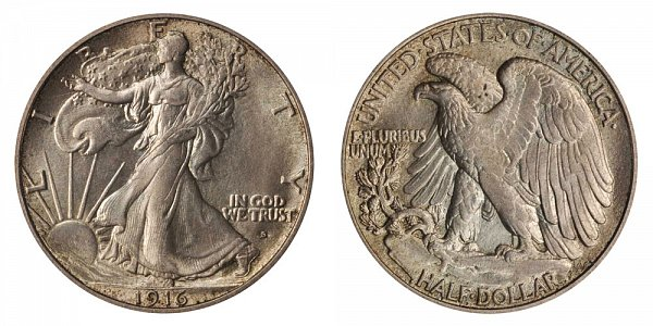 1916 S Walking Liberty Silver Half Dollar