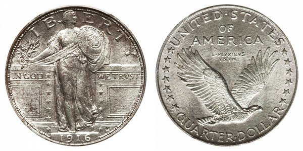 1916 Standing Liberty Quarter - Type 1