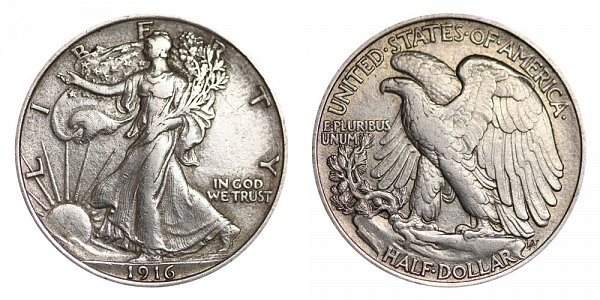 1916 Walking Liberty Silver Half Dollar