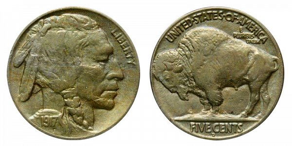1917 D Indian Head Buffalo Nickel