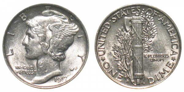 1917 D Silver Mercury Dime