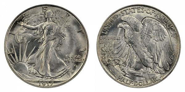 1917 D Walking Liberty Silver Half Dollar - Obverse Mint Mark