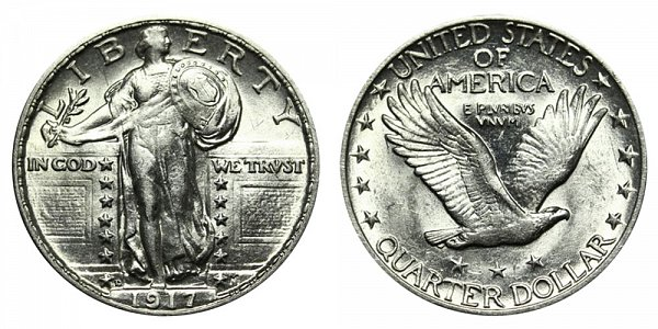 1917 D Type 2 Standing Liberty Quarter