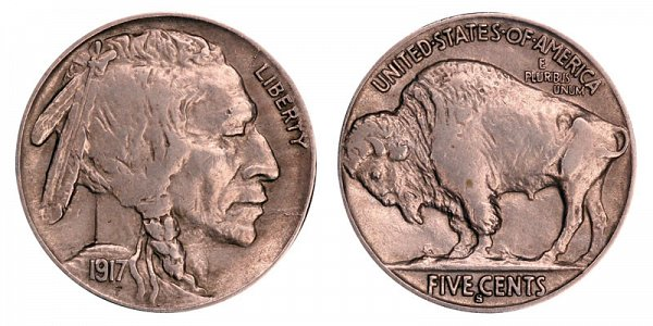 1917 S Indian Head Buffalo Nickel