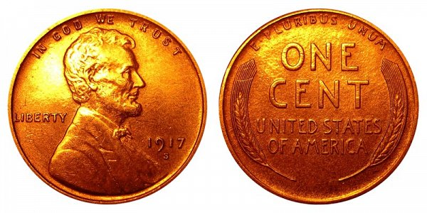 1917 S Lincoln Wheat Cent Penny