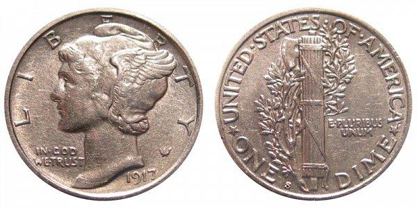 1917 S Silver Mercury Dime