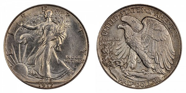 1917 S Walking Liberty Silver Half Dollar - Obverse Mint Mark