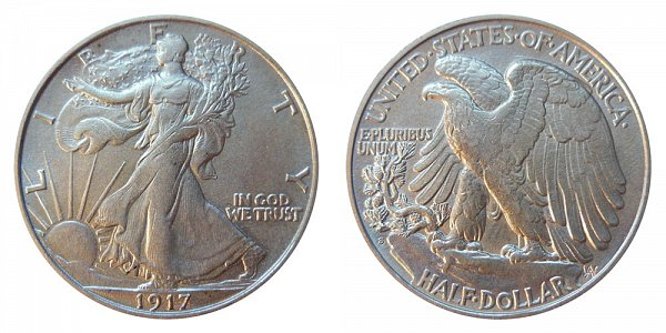 1917 S Walking Liberty Silver Half Dollar - Reverse Mint Mark