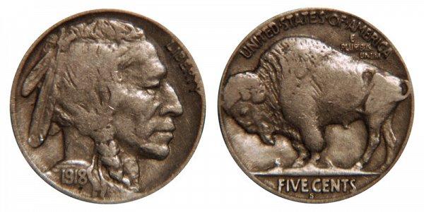 1918 S Indian Head Buffalo Nickel