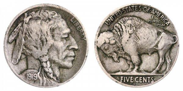 1919 D Indian Head Buffalo Nickel