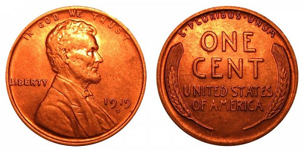 1919 D Lincoln Wheat Cent Penny