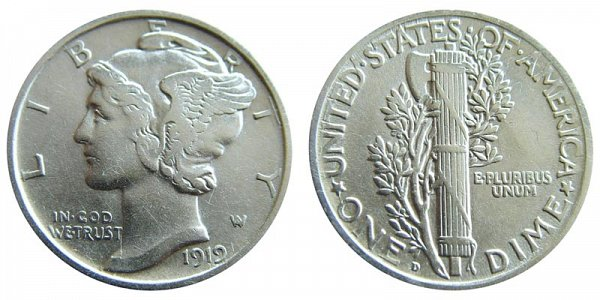 1919 D Silver Mercury Dime