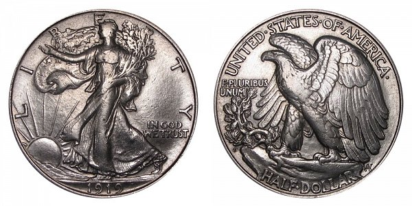 1919 D Walking Liberty Silver Half Dollar
