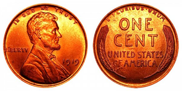 1919 Lincoln Wheat Cent Penny
