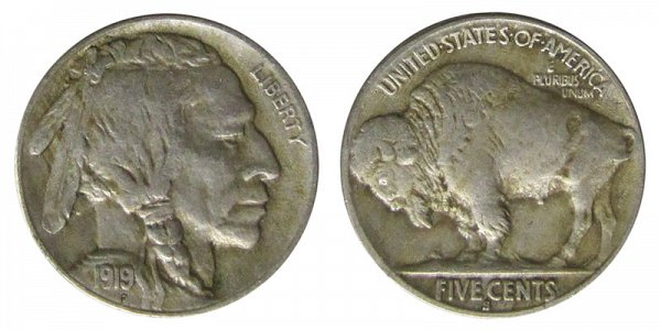 1919 S Indian Head Buffalo Nickel