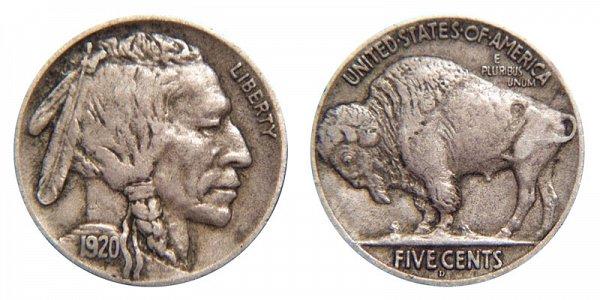 1920 D Indian Head Buffalo Nickel