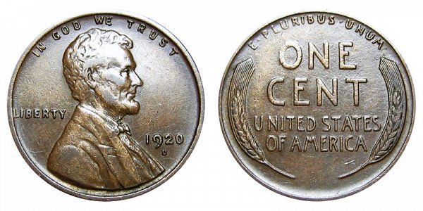 1920 D Lincoln Wheat Cent Penny