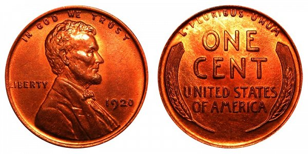 1920 Lincoln Wheat Cent Penny