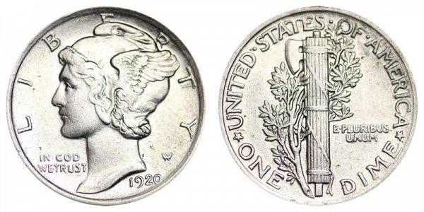 1920 Silver Mercury Dime
