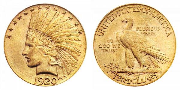 1920 S Indian Head $10 Gold Eagle - Ten Dollars