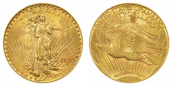 1920 Saint Gaudens $20 Gold Double Eagle - Twenty Dollars