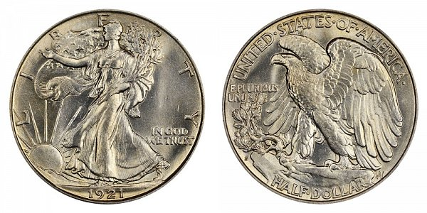 1921 S Walking Liberty Silver Half Dollar