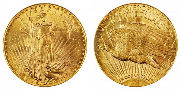 1921 Saint Gaudens $20 Gold Double Eagle - Twenty Dollars
