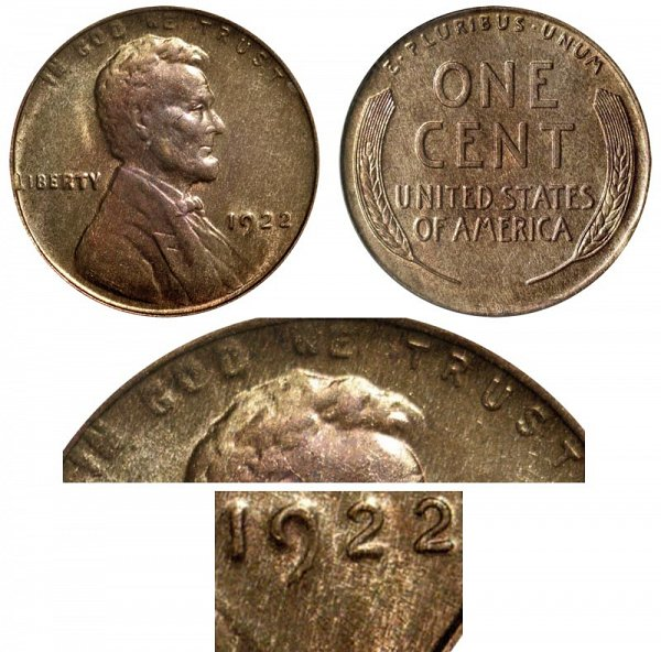 1922 No D Mintmark Lincoln Wheat Cent Penny