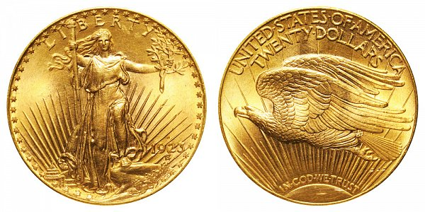 1923 D Saint Gaudens $20 Gold Double Eagle - Twenty Dollars