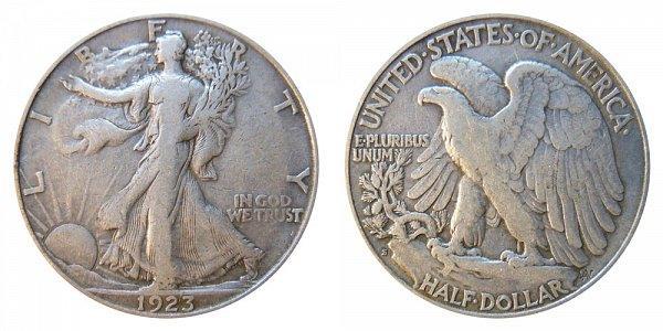 1923 S Walking Liberty Silver Half Dollar