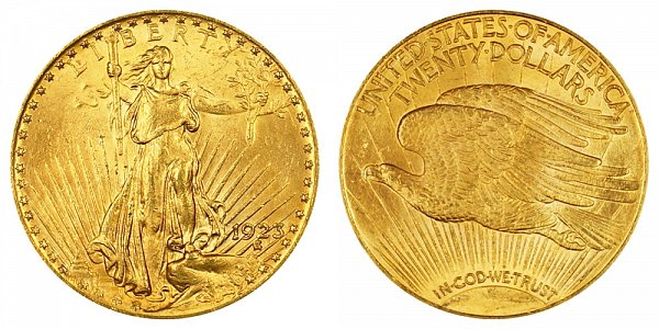 1923 Saint Gaudens $20 Gold Double Eagle - Twenty Dollars