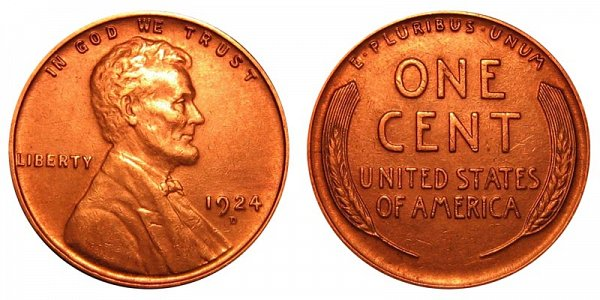 1924 D Lincoln Wheat Cent Penny