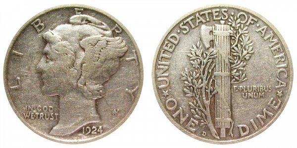 1924 D Silver Mercury Dime