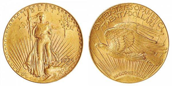 1924 D Saint Gaudens $20 Gold Double Eagle - Twenty Dollars