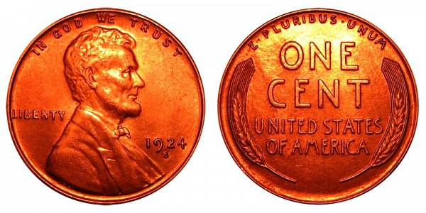 1924 S Lincoln Wheat Cent Penny