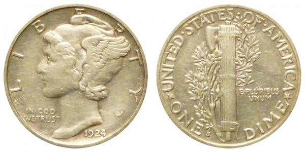 1924 S Silver Mercury Dime