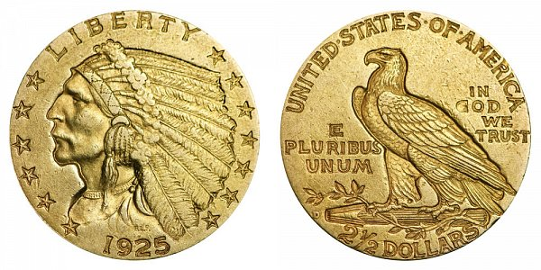 1925 D Indian Head $2.50 Gold Quarter Eagle - 2 1/2 Dollars