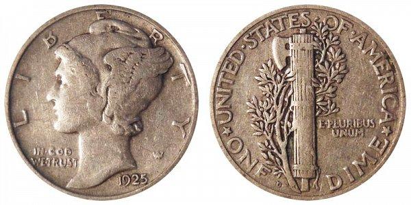 1925 D Silver Mercury Dime