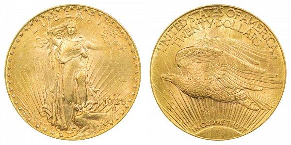 1925 D Saint Gaudens $20 Gold Double Eagle - Twenty Dollars