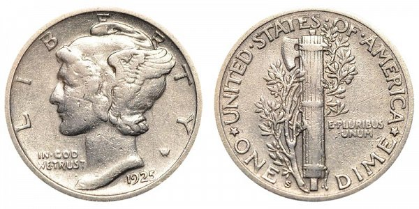 1925 S Silver Mercury Dime
