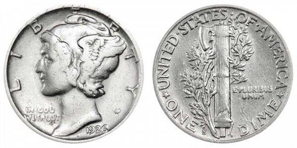 1926 S Silver Mercury Dime