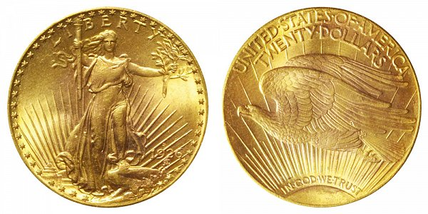 1926 S Saint Gaudens $20 Gold Double Eagle - Twenty Dollars