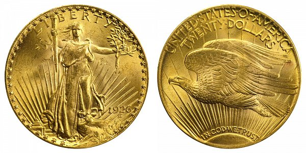 1926 Saint Gaudens $20 Gold Double Eagle - Twenty Dollars