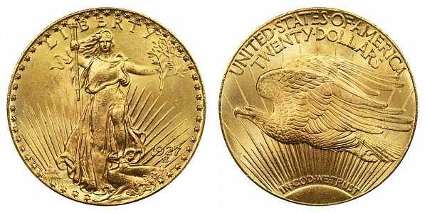 1927 Saint Gaudens $20 Gold Double Eagle - Twenty Dollars