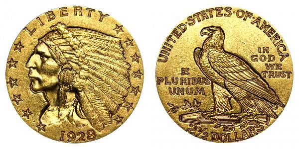 1928 Indian Head $2.50 Gold Quarter Eagle - 2 1/2 Dollars