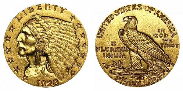 1928 Indian Head $2.50 Gold Quarter Eagle - 2 1/2 Dollars